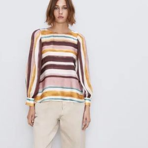 Zara Brown Painted Watercolor Stripe Blouse